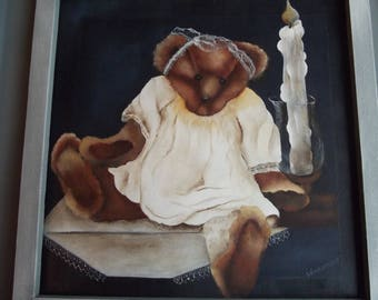 Table wooden ancadre: bear Oursette candle for children and adults