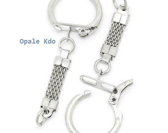 Set of 3 silver metal Keyring