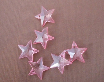 Set of 6 charms or pendants Star Pink
