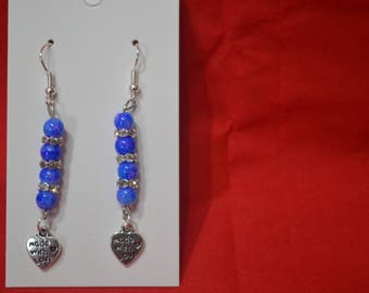 Blue Murano Glass With Diamante Spacers