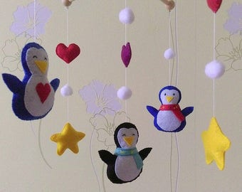 Penguins mobile baby - mobile for children - mobile crib toys - felt toys