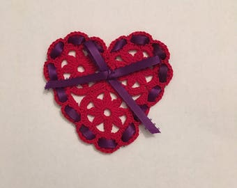 Red Crocheted Heart with Purple Ribbon