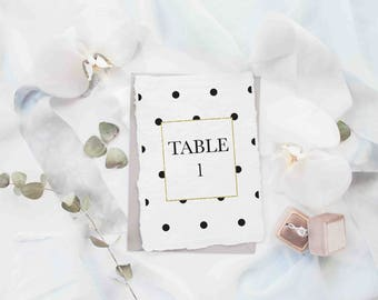 "Wedding Table Number 1-40, 5""x7"", Printable Art, Instant Download, Polka Dot, digital print"
