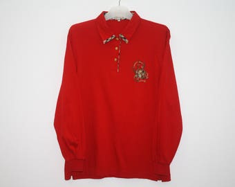 Daks Golf Red Cotton Long Sleeves Polo Shirt Made In Japan Size M