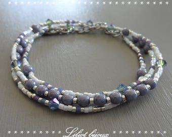 Fancy bracelet purple MULTISTRAND beaded