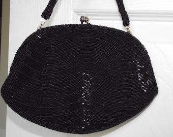 Vintage Richere Walborg Japan beaded black evening purse