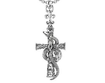 Silver Cross Necklace dangling from Fleur-de-lis