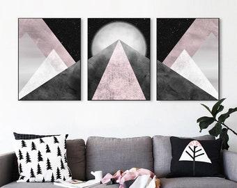 Printable wall art, Set of 3 Mountains, Blush Pink Grey, Night sky print, Modern print, Geometric print, Wall decor, Triptych wall art