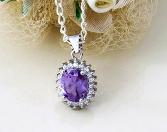 Amethyst faceted Crystal Necklace, Amethyst Pendant, Purple Jewelry, Bridesmaid Necklace