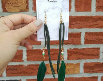 Green feathers dream catcher vintage earrings