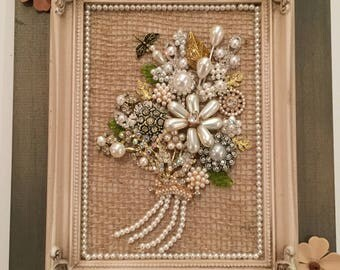 Vintage shabby chic jeweled pearl flower bouquet framed gift