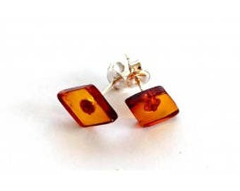 Amber & Silver Earrings