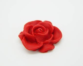 1 x cabochon fimo flower red 20mm (l721)