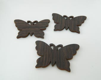 6 x (l1242) 50mm Brown wooden Butterfly
