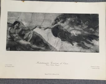 Michaelangelo Creation of Adam. 1920's antique print