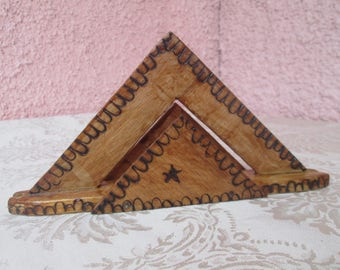 Wooden napkin holder, Handmade Decorated Napkin Holder, Vintage napkin holder