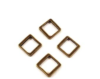 Set of 4 square rings bronze (Ref.57)