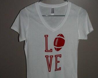 Red Love Football Tee