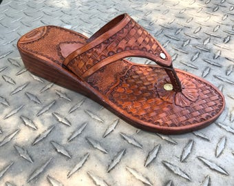 Custom Handmade Tooled Leather Wedge Sandals