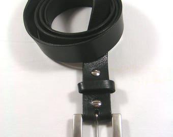Mens black cowhide leather belt