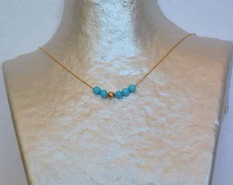 Turquoise beads on gold chain necklace