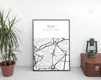 Dijon poster - Map (A4)