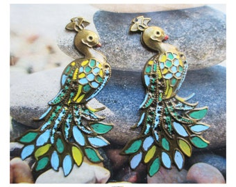 "2 large pendants ""Peacock"" bronze metal hand painted"
