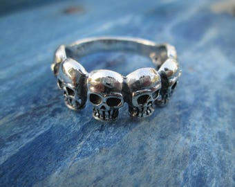 Ring silver skulls A-008 esterling steampunk gothic hallowin skull ring silver