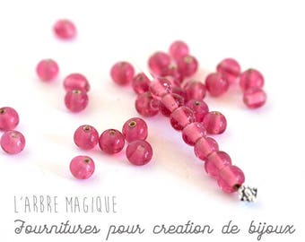 Pink 5 mm by 20 glass round bead set