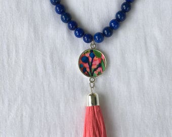 Blue and Coral Beaded Pendant Necklace