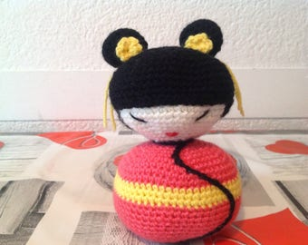 Lovely wool, 20 cm h, Kokeshi crochet and made entirely by hand