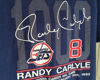 Vintage 90s Winnipeg Jets Randy Carlyle 1000th Career NHL Game 1992 Commemorative T-Shirt. Men's XL. Made in Canada.
