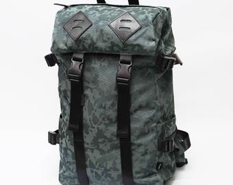 Panther Backpack, Leather bottom, high quality Nylon, large volume, Green Camo, backpack men, laptop backpack, travel backpack