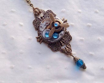 Steampunk with airplane propeller pendant necklace