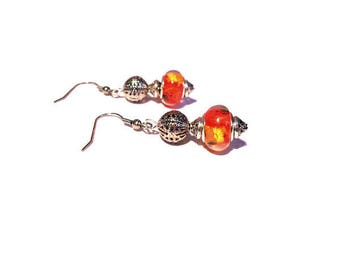 Retro earrings, yellow flowers pattern red beads