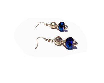 Retro earrings, electric blue faceted beads