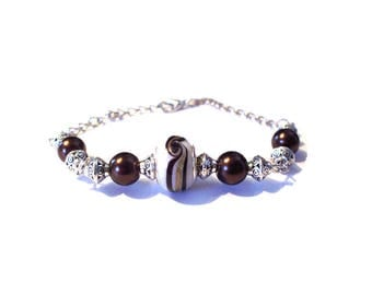 Vintage bracelet, Pearl White patterned Murano