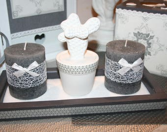 candles cactus gray and white wood tray