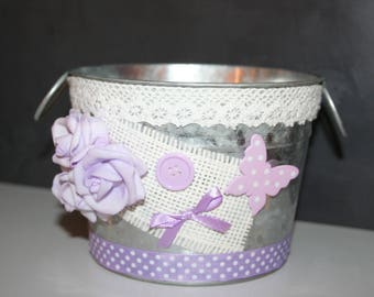 pot made of zinc white and purple lace shabby