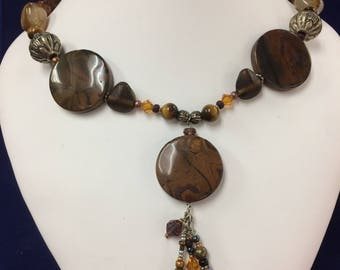 Brown Agate and Beaded Gemstone Necklace