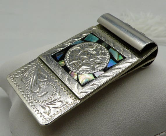Alpaca Mexico, Aztec Designed Sterling Silver with Mosaic Abalone Shell Money Clip