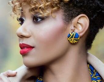Bina wax (Ankara) button earrings