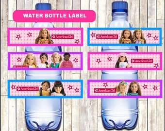 80% OFF American Doll Girl Water Bottle Label instant download, American Doll Girl party Water Bottle Label, American Doll Girl Water labels