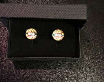 Happy Christmas gold plated mens cufflinks
