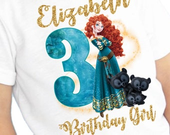 Merida Birthday Shirt/Brave Birthday Shirt/Merida Party/Brave/Merida Birthday/Brave Stickers/Brave Invitations/Brave Birthday/Merida Sticker