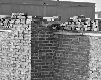 Black and White Brick Photo, Architecture, Old Building, Brick Wall, Digital Download Image, Photography Design