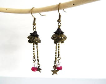 fuschia pink dangling earrings