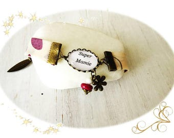 """""""Great Grandma"""" bracelet in ivory and plum floral liberty... party big day"""
