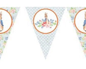 Peter Rabbit Vintage New Party Birthday Bunting Banner Flags. Supplies Lolly Loot Bag Cake Invitation Room Decoration