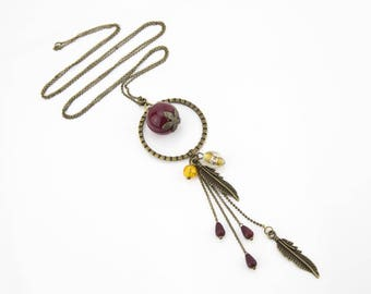 Long necklace Burgundy and yellow feathers #1331